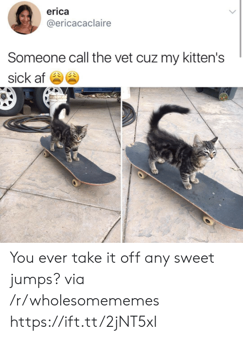Af, Kittens, and Sick: erica  @ericacaclaire  Someone call the vet cuz my kitten's  sick af You ever take it off any sweet jumps? via /r/wholesomememes https://ift.tt/2jNT5xI