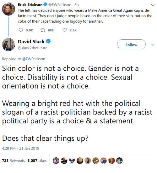 make america great again: Erick Erickson@EWErickson 6h  The left has decided anyone who wears a Make America Great Again cap is de  facto racist. They don't judge people based on the color of their skin, but on the  color of their caps trading one bigotry for another.  5.0K  688  2.6K  David Slack  @slack2thefuture  Follow  Replying to @EWErickson  Skin color is not a choice. Gender is not a  choice. Disability is not a choice. Sexual  orientation is not a choice  Wearing a bright red hat with the political  slogan of a racist politician backed by a racist  political party is a choice & a statement.  Does that clear things up?  4:28 PM - 21 Jan 2019  723 Retweets 5,087 Likes