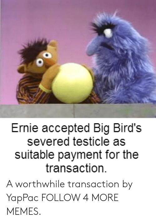 Dank, Memes, and Reddit: Ernie accepted Big Bird's  severed testicle as  suitable payment for the  transaction A worthwhile transaction by YapPac FOLLOW 4 MORE MEMES.