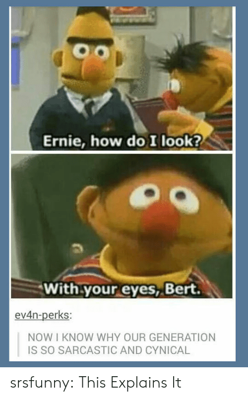 With Your Eyes Bert: Ernie, how do I look?  With your eyes, Bert  ev4n-perks:  NOW I KNOW WHY OUR GENERATION  IS SO SARCASTIC AND CYNICAL srsfunny: This Explains It