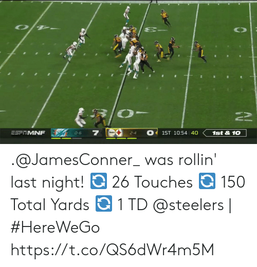 2 4: ESFTMNF  1ST 10:54 40  1st&10  0-6  2-4 .@JamesConner_ was rollin' last night!  🔄 26 Touches  🔄 150 Total Yards  🔄 1 TD   @steelers | #HereWeGo https://t.co/QS6dWr4m5M