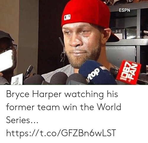 Espn, Bryce Harper, and World: ESPN  @woodymib4  Mtop  mas  FAN Bryce Harper watching his former team win the World Series... https://t.co/GFZBn6wLST