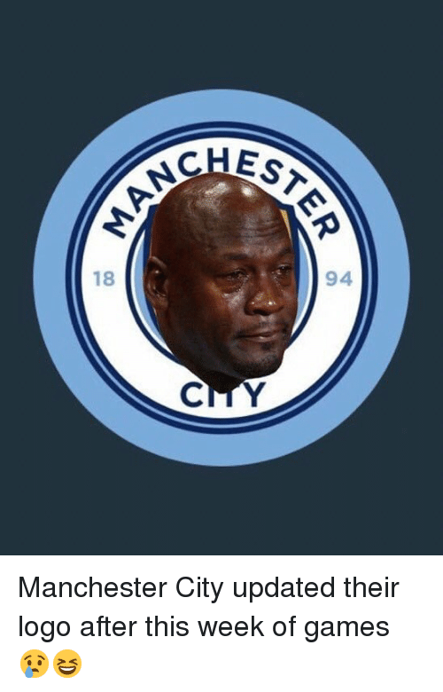 Manchester City: EST  94  18 Manchester City updated their logo after this week of games 😢😆