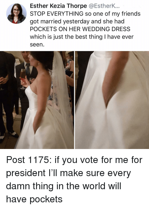 Just The Best: Esther Kezia Thorpe @EstherK...  STOP EVERYTHING so one of my friends  got married yesterday and she had  POCKETS ON HER WEDDING DRESS  which is just the best thing I have ever  seen Post 1175: if you vote for me for president I'll make sure every damn thing in the world will have pockets