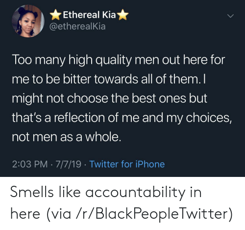 Blackpeopletwitter, Iphone, and Twitter: Ethereal Kia  @etherealKia  Too many high quality men out here for  me to be bitter towards all of them. I  might not choose the best ones but  that's a reflection of me and my choices,  not men as a whole.  2:03 PM 7/7/19 Twitter for iPhone Smells like accountability in here (via /r/BlackPeopleTwitter)