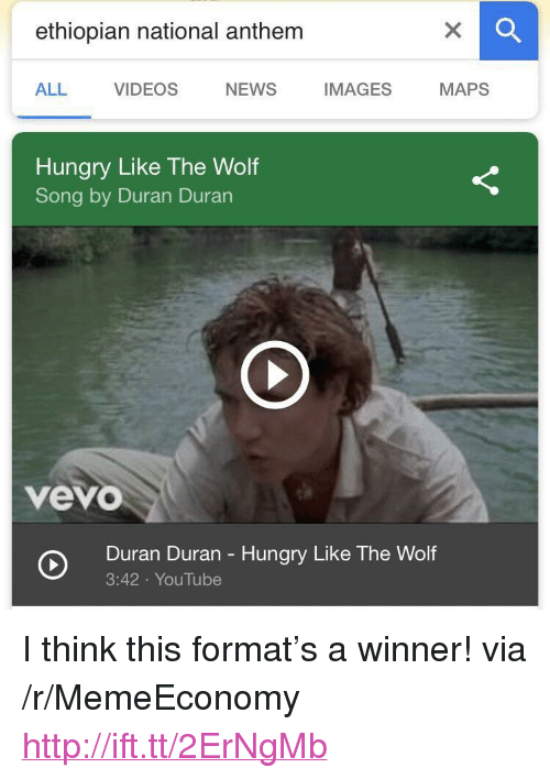 """Duran: ethiopian national anthem  ALL VIDEOS NEWS IMAGES MAPS  Hungry Like The Wolf  Song by Duran Duran  vevo  Duran Duran - Hungry Like The Wolf  3:42 YouTube <p>I think this format's a winner! via /r/MemeEconomy <a href=""""http://ift.tt/2ErNgMb"""">http://ift.tt/2ErNgMb</a></p>"""