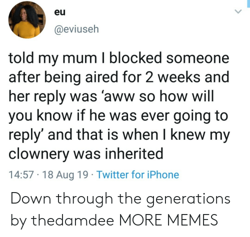 Aired: eu  @eviuseh  told my mum I blocked someone  after being aired for 2 weeks and  her reply was 'aww so how will  you know if he was ever going to  reply' and that is when I knew my  clownery was inherited  14:57 18 Aug 19 Twitter for iPhone Down through the generations by thedamdee MORE MEMES