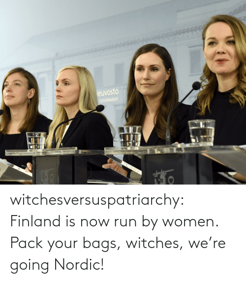 bags: euvosto  COVERNMENT witchesversuspatriarchy:  Finland is now run by women. Pack your bags, witches, we're going Nordic!