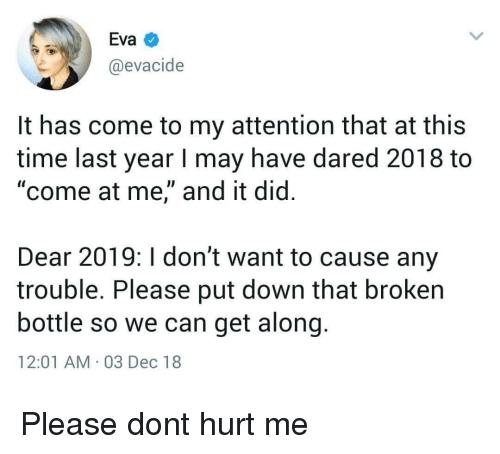 "Time, Eva, and Can: Eva  @evacide  It has come to my attention that at this  time last year I may have dared 2018 to  ""come at me,"" and it did.  Dear 2019: I don't want to cause any  trouble. Please put down that broken  bottle so we can get along  12:01 AM 03 Dec 18 Please dont hurt me"