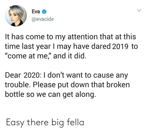 "attention: Eva  @evacide  It has come to my attention that at this  time last year I may have dared 2019 to  ""come at me,"" and it did.  Dear 2020:I don't want to cause any  trouble. Please put down that broken  bottle so we can get along. Easy there big fella"
