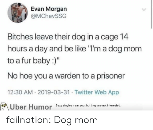 "prisoner: Evan Morgan  @MChevSSG  Bitches leave their dog in a cage 14  hours a day and be like ""I'm a dog mom  to a fur baby:)""  No hoe you a warden to a prisoner  12:30 AM 2019-03-31 Twitter Web App  Sexy singies near you, but they are not interested  Uber  Humor failnation:  Dog mom"