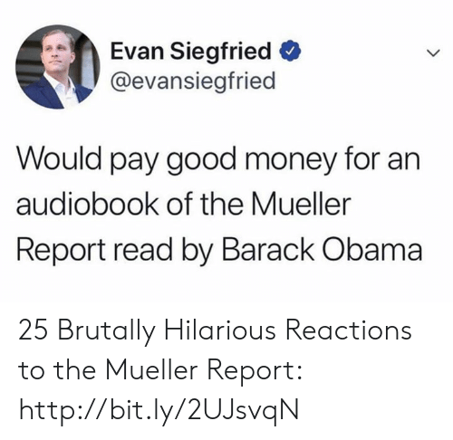 Evan: Evan Siegfried  @evansiegfried  Would pay good money for an  audiobook of the Mueller  Report read by Barack Obama 25 Brutally Hilarious Reactions to the Mueller Report: http://bit.ly/2UJsvqN