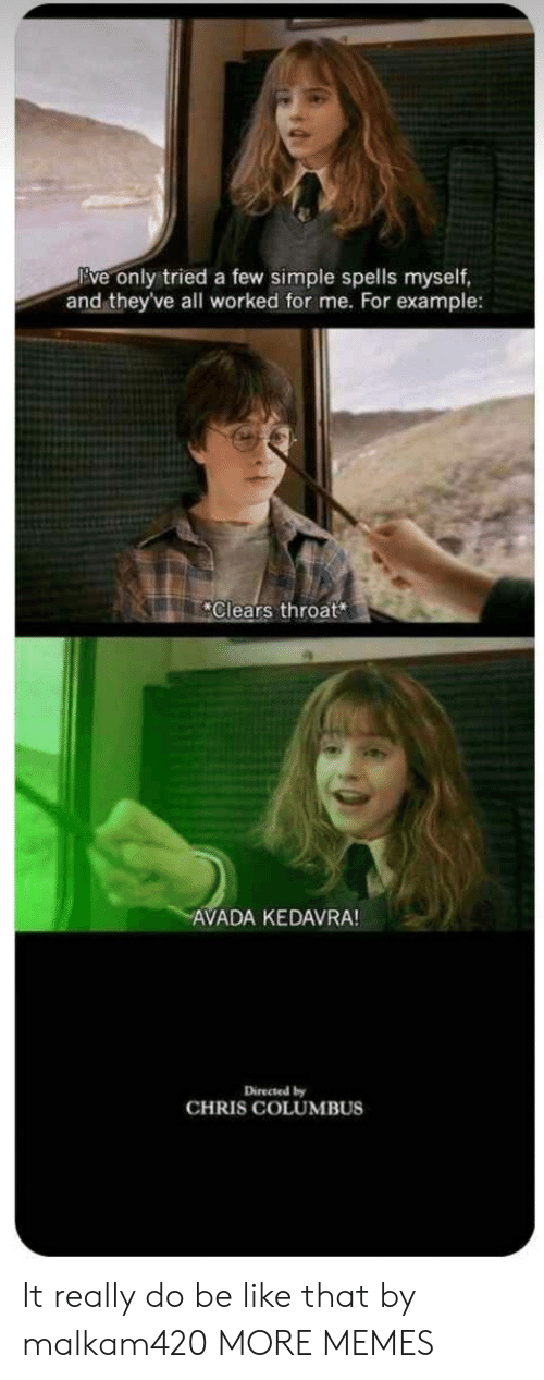 Be Like, Dank, and Memes: Eve only tried a few simple spells myself,  and theyve all worked for me. For example:  Clears throat  AVADA KEDAVRA!  Directed by  CHRIS COLUMBUS It really do be like that by malkam420 MORE MEMES
