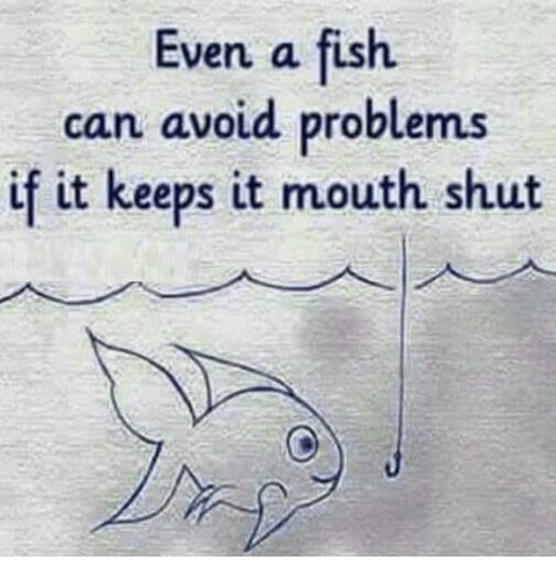 avoidance: Even a fish.  can avoid problems  if it keeps it mouth shut