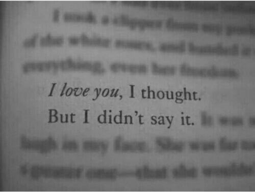 Love, Say It, and I Love You: even be  I love you, I thought.  But I didn't say it.