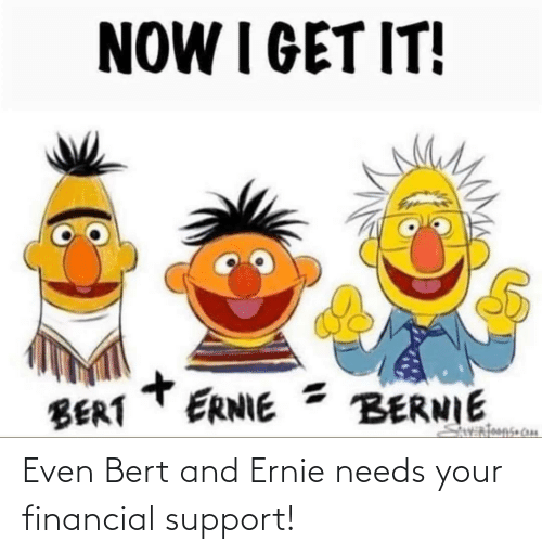 Financial: Even Bert and Ernie needs your financial support!