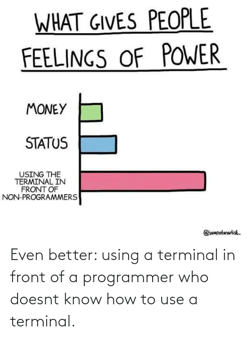 use: Even better: using a terminal in front of a programmer who doesnt know how to use a terminal.