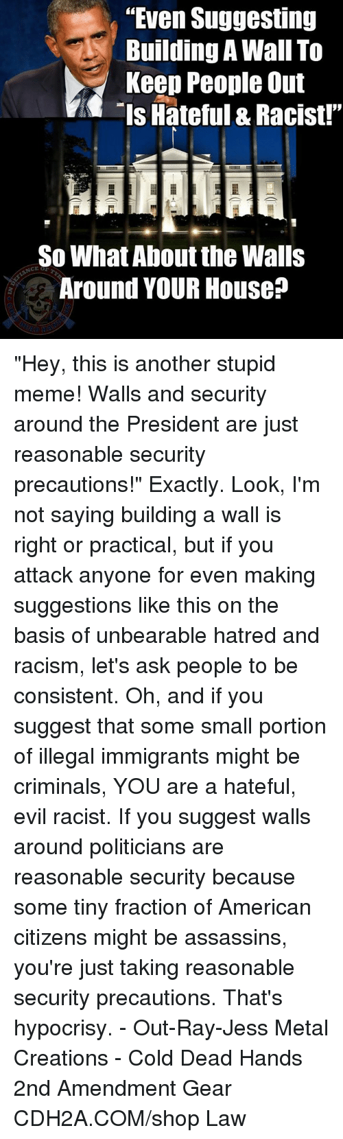 """Stupid Memes: """"Even Suggesting  uilding A Wall To  Keep People Out  Is Hateful & Racist!""""  So What About the Walls  Around YOUR House? """"Hey, this is another stupid meme!  Walls and security around the President are just reasonable security precautions!""""    Exactly.  Look, I'm not saying building a wall is right or practical, but if you attack anyone for even making suggestions like this on the basis of unbearable hatred and racism, let's ask people to be consistent.  Oh, and if you suggest that some small portion of illegal immigrants might be criminals, YOU are a hateful, evil racist.  If you suggest walls around politicians are reasonable security because some tiny fraction of American citizens might be assassins, you're just taking reasonable security precautions.   That's hypocrisy. - Out-Ray-Jess Metal Creations - Cold Dead Hands 2nd Amendment Gear CDH2A.COM/shop Law"""