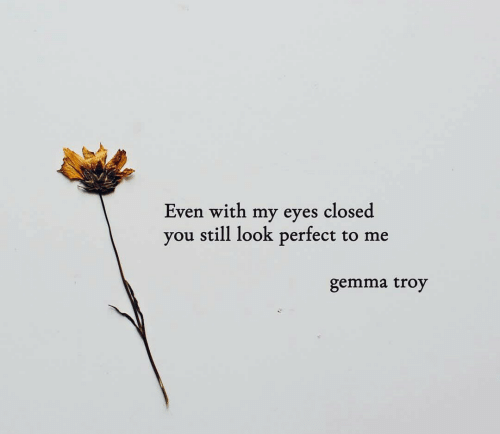 Troy, You, and Still: Even with my eyes closed  you still look perfect to me  gemma troy
