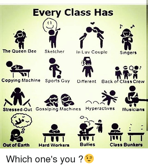 Hard Worker: Every Class Has  (1  The Queen Bec  Skctcher  InLuv Couple  Singers  Copying flachine Sports Guy Otferent  Back of Class Crew  Stressed.Out Gosslping Machines Kyperactivos Musicians  Out of Earth Hard Worker  Buies  Class 8unkers Which one's you ?😉