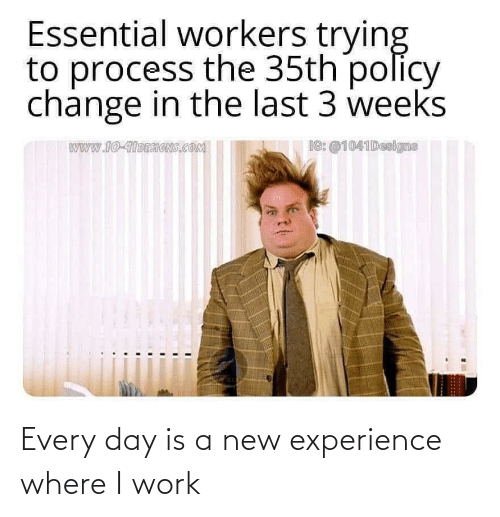 Work, Experience, and Day: Every day is a new experience where I work