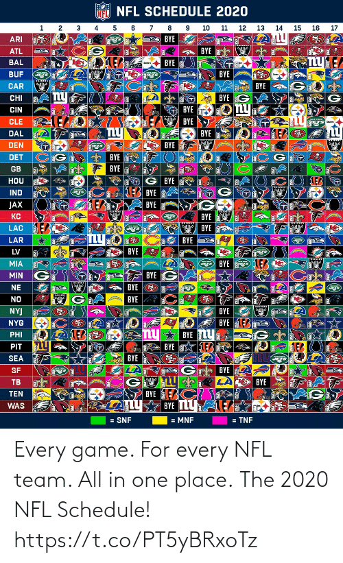 place: Every game. For every NFL team. All in one place.  The 2020 NFL Schedule! https://t.co/PT5yBRxoTz
