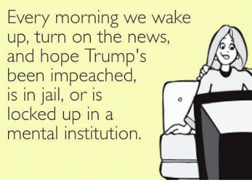 Jail, News, and Hope: Every morning we wake  up, turn on the news,  and hope Trump's  been impeached  is in jail, or is  locked up in a  mental institution.