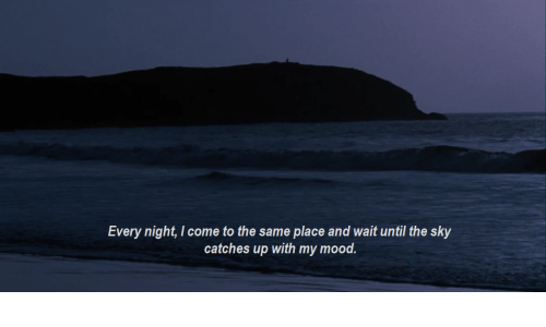 Wait Until: Every night, come to the same place and wait until the sky  catches up with my mood.