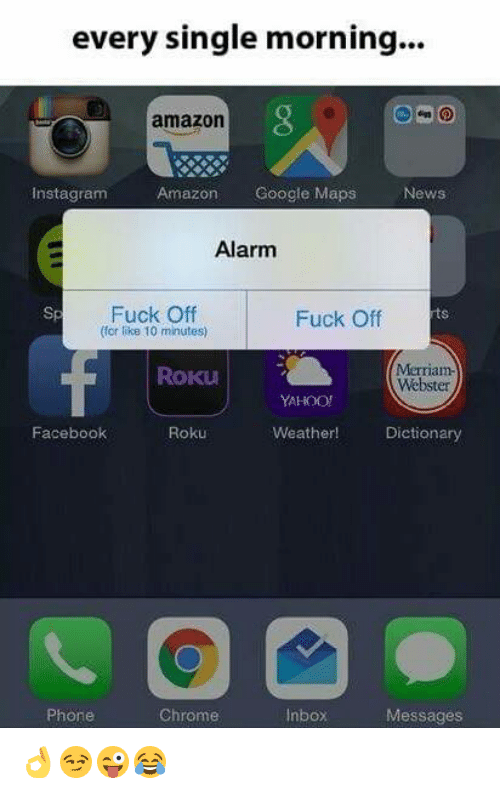 roku: every single morning  amazon  Amazon  Google Maps  News  nstagram  Alarm  Fuck Off  Fuck Off  (for like 10 minutes)  Merriam-  ROKU  Webster  YAHOO!  Weather!  Dictionary  Facebook  Roku  Phone  Chrome  Inbox  Messages 👌😏😜😂