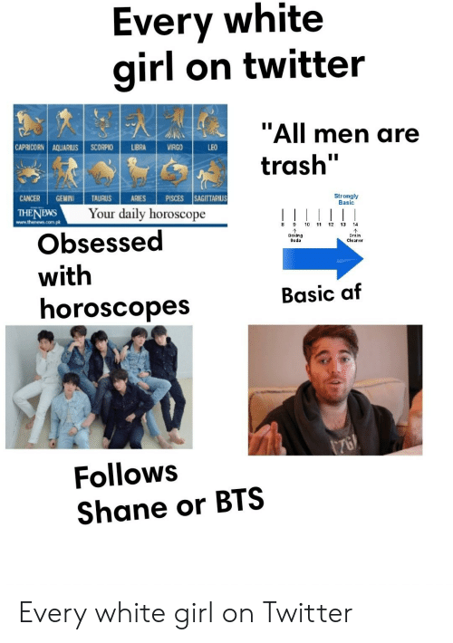 "Af, Soda, and Starter Packs: Every white  girl on twitter  ""All men are  trash'  CAPRICORN! AQUARIUSİ SCORPIO 