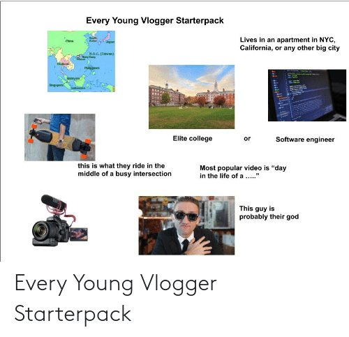 """Kang: Every Young Vlogger Starterpack  Sauth  Kara  Lives in an apartment in NYC,  California, or any other big city  China  Japan  R.O.C. (Taiwan)  ng Kang  Maca  Thailand  Philippines  Singapore  Indonesia  Elite college  or  Software engineer  this is what they ride in the  middle of a busy intersection  Most popular video is """"day  in the life of a ..""""  This guy is  probably their god Every Young Vlogger Starterpack"""