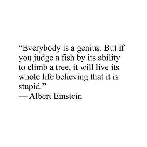 """Albert Einstein, Life, and Einstein: """"Everybody is a genius. But if  you judge a fish by its ability  to climb a tree, it will live its  whole life believing that it is  stupid.""""  1  22  Albert Einstein"""
