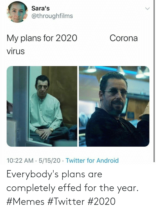 year: Everybody's plans are completely effed for the year. #Memes #Twitter #2020