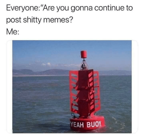 "Memes, Yeah, and You: Everyone:""Are you gonna continue to  post shitty memes?  Мe:  YEAH BUOY"