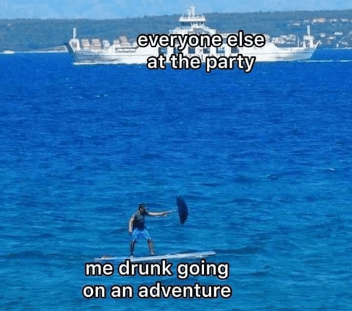 Drunk, Party, and Adventure: everyone else  at the party  me drunk going  on an adventure
