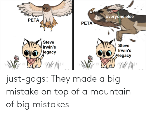 Tumblr, Peta, and Blog: Everyone else  PETA  PETA  Steve  Irwin's  legacy  Steve  jiegacy  MI A  Irwin's just-gags: They made a big mistake on top of a mountain of big mistakes