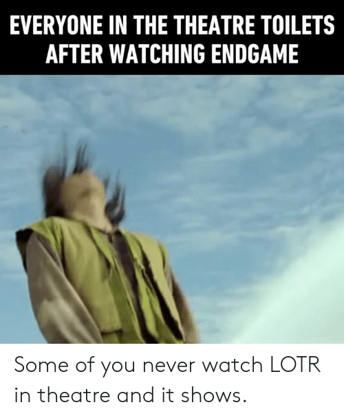 lotr: EVERYONE IN THE THEATRE TOILETS  AFTER WATCHING ENDGAME Some of you never watch LOTR in theatre and it shows.