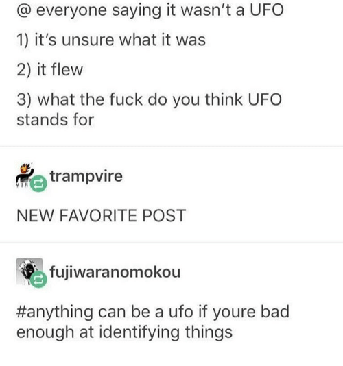 Bad, Memes, and Fuck: @ everyone saying it wasn't a UFO  1) it's unsure what it was  2) it flew  3) what the fuck do you think UFO  stands for  trampvire  NEW FAVORITE POST  fujiwaranomokou  #anything can be a uro if youre bad  enough at identifying things