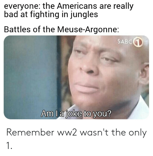Jungles: everyone: the Americans are really  bad at fighting in jungles  Battles of the Meuse-Argonne:  SABC  Am lajoke to you? Remember ww2 wasn't the only 1.
