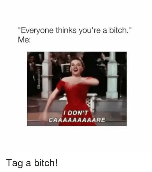 "Bitch, Girl Memes, and Youre: ""Everyone thinks you're a bitch.""  Me:  DON'T Tag a bitch!"