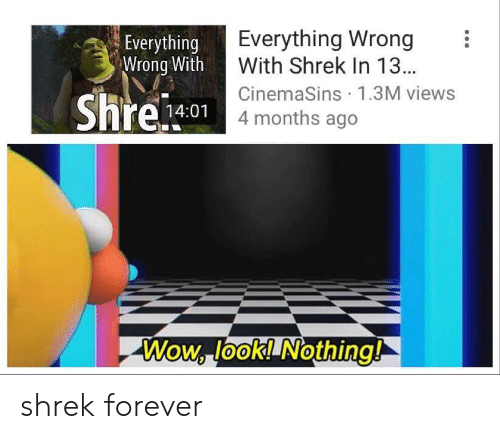 Shrek, Wow, and Forever: Everything Wrong  With Shrek In 13..  CinemaSins 1.3M viewss  4 months ago  Everything  Wrong With  14:01  Wow, look! Nothing! shrek forever