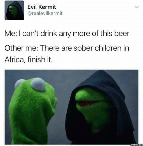 Africa, Beer, and Children: Evil Kermit  @realevilkermit  Me: I can't drink any more of this beer  Other me: There are sober children in  Africa, finish it.