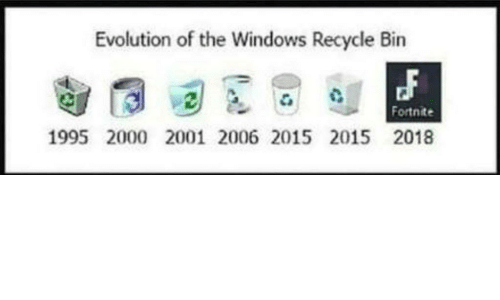 Windows, Evolution, and Recycle Bin: Evolution of the Windows Recycle Bin  Fortnite  1995 2000 2001 2006 2015 2015 2018
