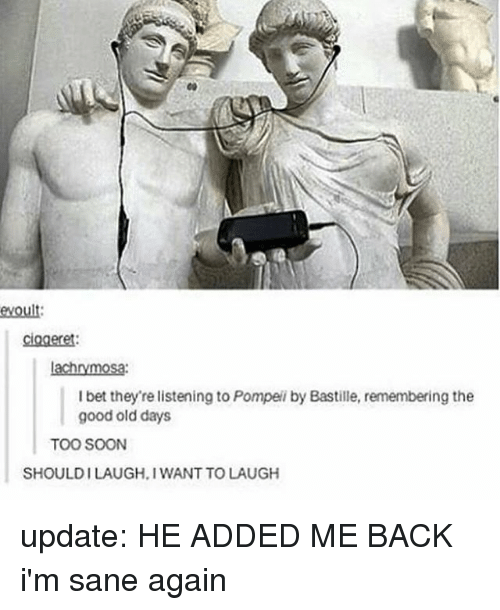 bastille: evoult:  ciogeret  I bet they're listening to Pompei by Bastille, remembering the  good old days  TOO SOON  SHOULDILAUGH.I WANT TO LAUGH update: HE ADDED ME BACK i'm sane again