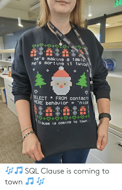 Nice, Sql, and Geek: EX  geek geek geek geek geek  he's making a ta eek  he's sorting it twice  SELECT * FROM contacts  HERE behavior =  'nice  %3D  Clause is coming to town..  geek  geek geek geek ge 🎶🎵 SQL Clause is coming to town 🎵 🎶