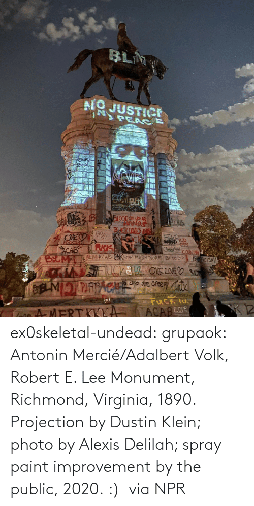 Removed: ex0skeletal-undead: grupaok: Antonin Mercié/Adalbert Volk, Robert E. Lee Monument, Richmond, Virginia, 1890. Projection by Dustin Klein; photo by Alexis Delilah; spray paint improvement by the public, 2020. :)  via NPR