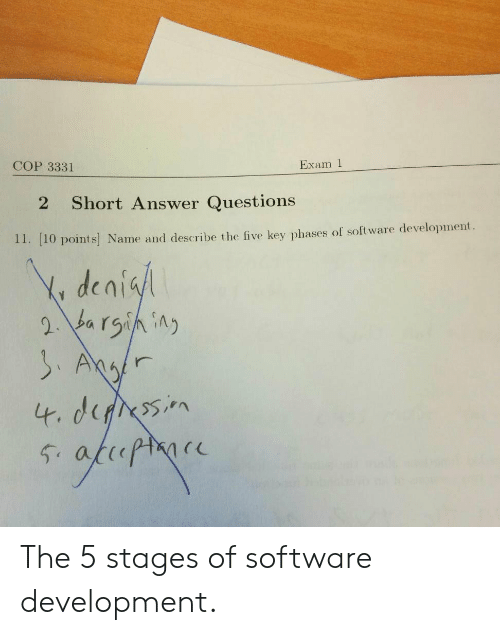 software development: Exam 1  COP 3331  Short Answer Questions  2  11. [10 points Name and describe the five key phases of software development  Y denisl  2 barsining  SAgr  4. derssin  fhopmoce  54 The 5 stages of software development.
