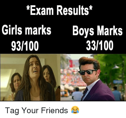 Memes, 🤖, and Marks: Exam Results  Girls marks  Boys Marks  33 100  93 100 Tag Your Friends 😂