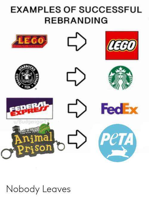 Fedex: EXAMPLES OF SUCCESSFUL  REBRANDING  LEGO  LEGO  BU  TEA  FedEx  EXPRER  u/Budgerigar  Animal  Prison  PeTA Nobody Leaves