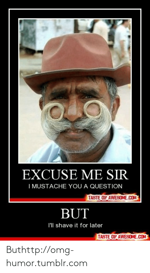 Taste Of Awesome: EXCUSE ME SIR  I MUSTACHE YOU A QUESTION  TASTE OF AWESOME.COM  BUT  I'll shave it for later  TASTE OF AWESOME.COM Buthttp://omg-humor.tumblr.com